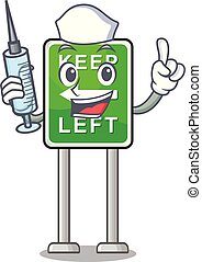 izquierda, caricatura, aislado, enfermera, retener, mascota