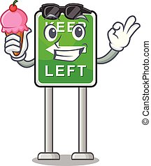 izquierda, caricatura, aislado, hielo, retener, mascota, ...