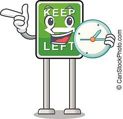 izquierda, caricatura, aislado, reloj, retener, mascota