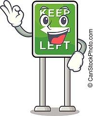 izquierda, caricatura, aislado, retener, aprobar, mascota
