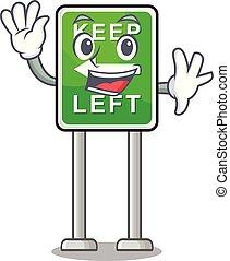izquierda, caricatura, aislado, retener, ondulación, mascota