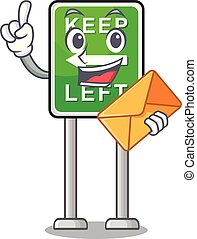 izquierda, caricatura, aislado, sobre, retener, mascota