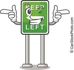 izquierda, caricatura, guiño, aislado, retener, mascota
