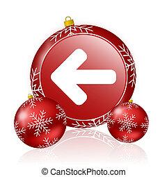 izquierda, navidad, icono flecha