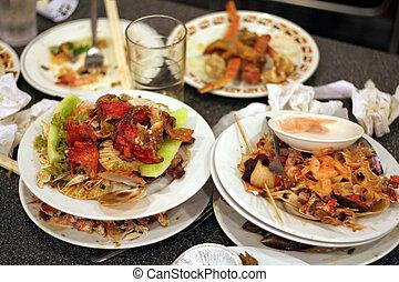 izquierda, platos, restaurante