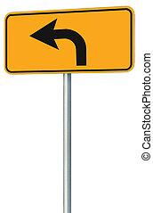 izquierda, vuelta, adelante, ruta, muestra del camino, amarillo, aislado