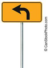 izquierda, vuelta, adelante, ruta, muestra del camino, amarillo, aislado, zona lateral de camino