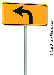 izquierda, vuelta, adelante, ruta, muestra del camino, perspectiva, amarillo, aislado