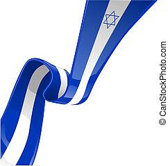 izrael, biały, izolować, bandera, wstążka