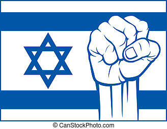 izrael, (flag, israel), pięść