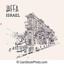 izrael, jaffa, rys, ilustracja, rysunek