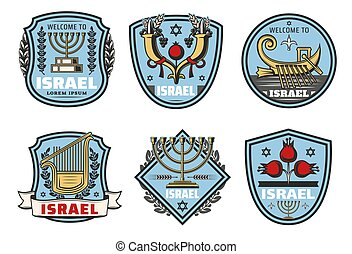 izrael, podróż, punkt orientacyjny, wektor, symbolika