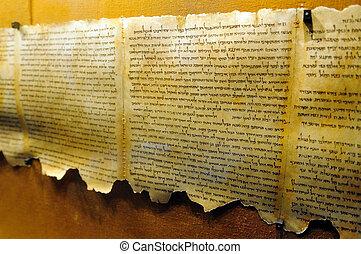 izrael, qumran, pohybovat se, -, fotit, vyhloubit