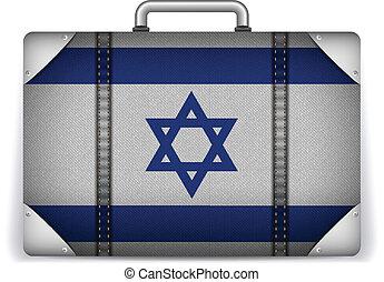 izrael, utazás, poggyász, noha, lobogó, helyett, szünidő