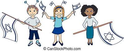 izraelita, bandery, dzieci, dzierżawa