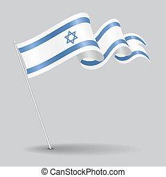 izraelita, wektor, illustration., szpilka, flag., falisty