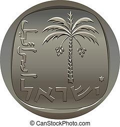 izraelita, wizerunek, wektor, dłoń, agora, data, pieniądz