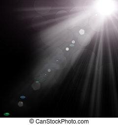 izzó, hó, ábra, reflektorfény