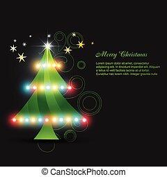 izzó, vektor, fa, karácsony
