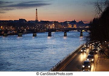 jábega, artes, evening., torre eiffel, puente, vista