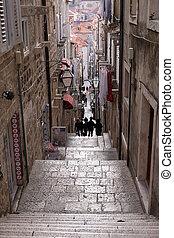 jádro, chorvatsko, město, dubrovnik, dávný, ulice, omezený