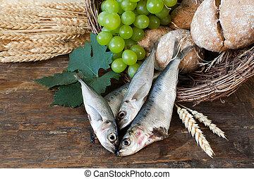 jámbor, bread, noha, kosár, közül, fish