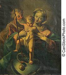 jámbor, család, noha, csecsemő jesus