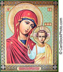 jámbor, mária, és, jesus christ, ikon