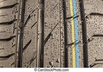 jár, autógumi, klasszikus, időjárás, nedves, feltétel