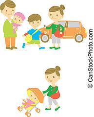 jár, csecsemő, autózás, család, fog