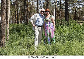 jár, férj, öregedő, feleség