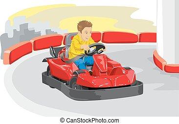 jár, fiú, vezetés, kart