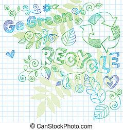 jár, zöld, újra hasznosít, szórakozottan firkálgat, vektor