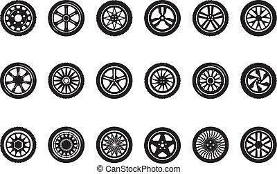 jármű, gördít, autógumi, vektor, autó, collection., körvonal, autó, mozi, tol, versenyzés