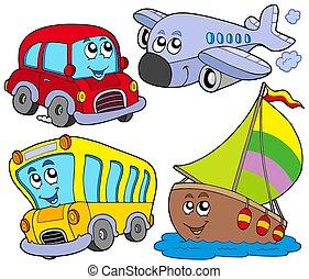 jármű, különféle, karikatúra