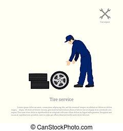 jármű, wheel., rendbehozás, service., autógumi, átalakuló, workshop., autószerelő, maintenance.