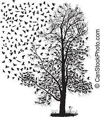 jásat, létat, pryč, od, ta, strom