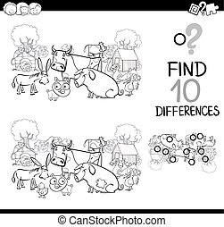 játék, állatok, tanya, színezés