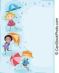 játék, az esőben