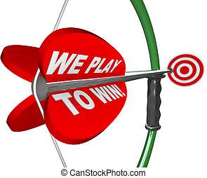 játék, céltábla, siker, győz, -, mi, íj, nyíl, nyerő