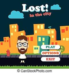 játék, előny, furcsa, pasas, karikatúra