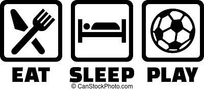 játék, futball, alszik, eszik