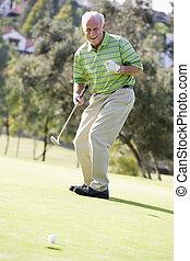 játék, golf, játék, ember