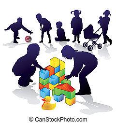 játék, gyerekek, épít