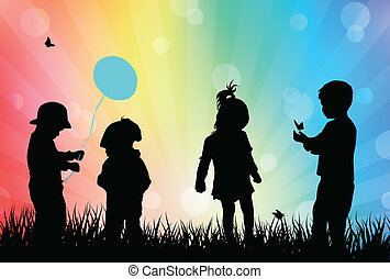 játék, gyerekek, szabadban