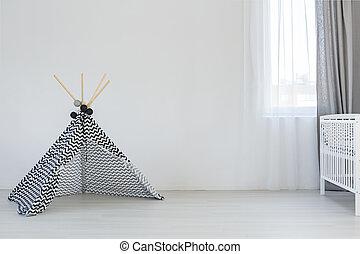 játék, gyermek, szoba, sátor