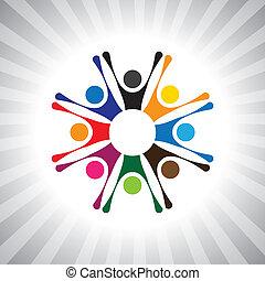 játék, is, móka, egyszerű, dicsőítések, emberek, birtoklás, fél, ünnepies, vektor, gyerekek, graphic., eleven, konzerv, összejövetel, izgatott, jó kedélyállapot, gyerekek, time-, ábra, emberek, ünnepel, ábrázol, ez