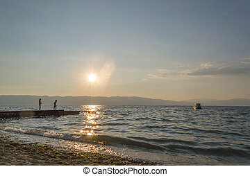 játék, képben látható, tó, napnyugta