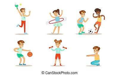 játék kosárlabda, abroncs, futball, gyerekek, földfoglaló, ábra, félcédulások, sport, különböző, fajta, lány, állhatatos, tízenéves kor, gyakorlás, hula, vektor, fiú, forgó