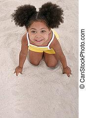 játék, leány, homok, gyermek